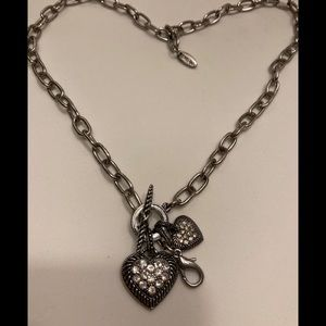 Jewel Kade Double Rhinestone Hearts Necklace
